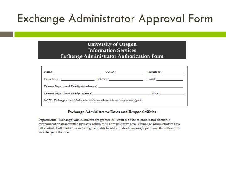 Exchange Administrator Approval Form