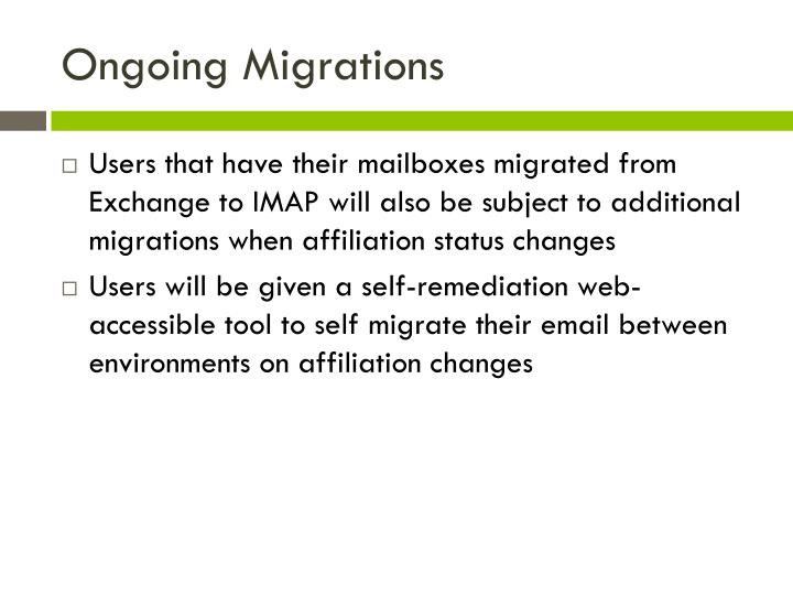 Ongoing Migrations