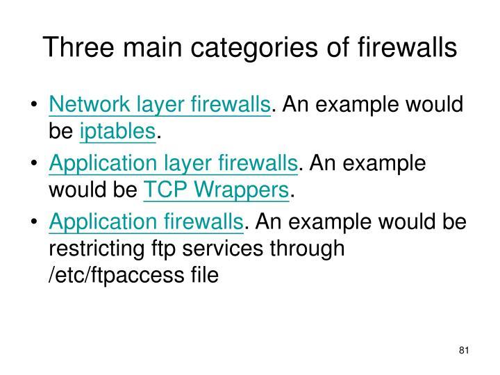 Three main categories of firewalls