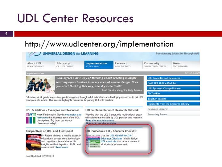 UDL Center Resources