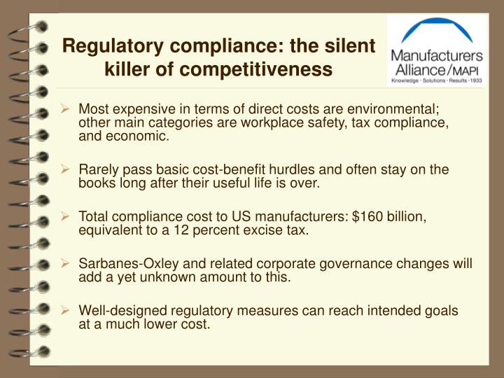 Regulatory compliance: the silent killer of competitiveness
