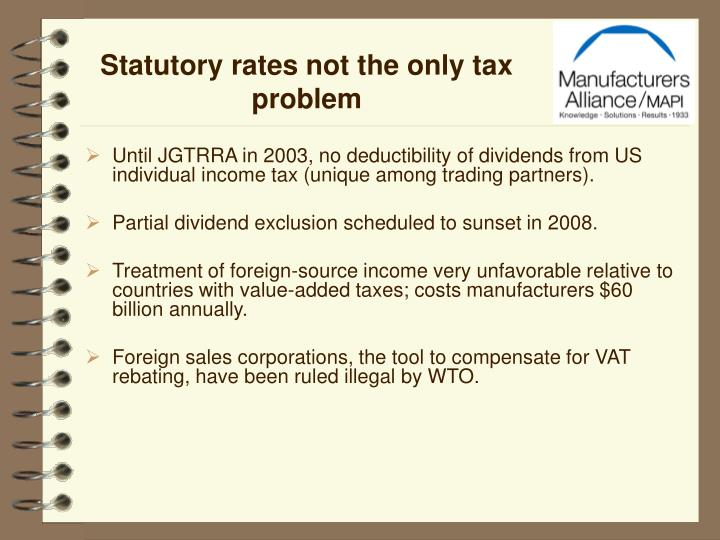 Statutory rates not the only tax problem