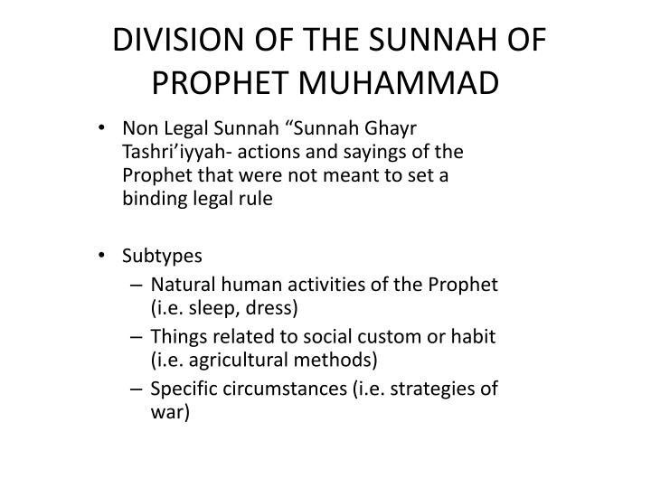 DIVISION OF THE SUNNAH OF PROPHET MUHAMMAD