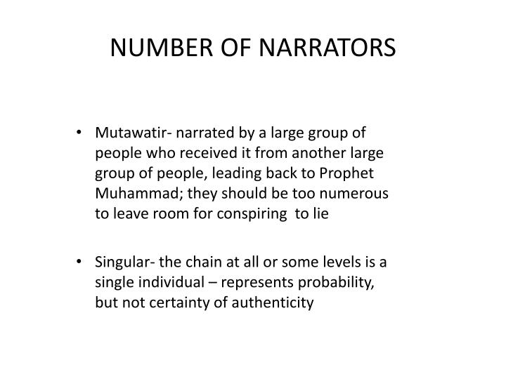 NUMBER OF NARRATORS