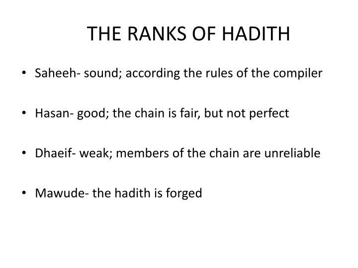 THE RANKS OF HADITH