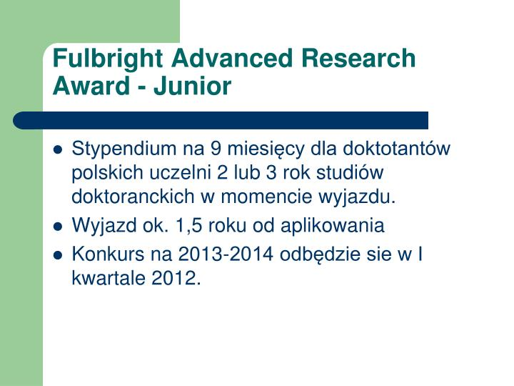Fulbright Advanced Research Award - Junior