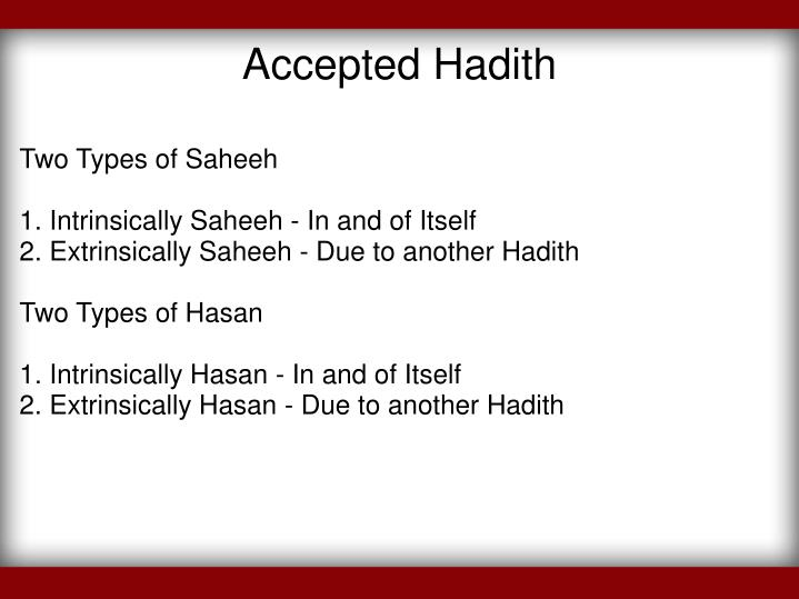 Accepted Hadith