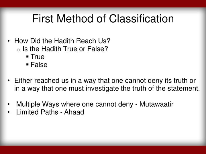 First Method of Classification