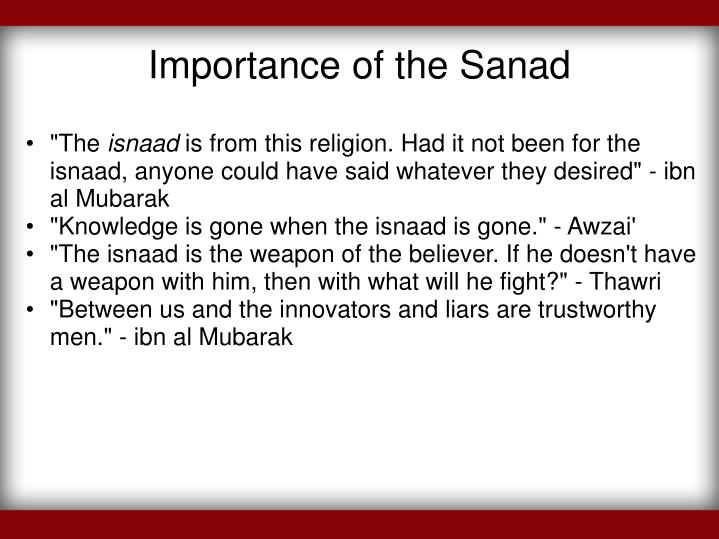 Importance of the Sanad