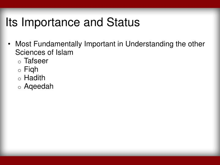 Its Importance and Status