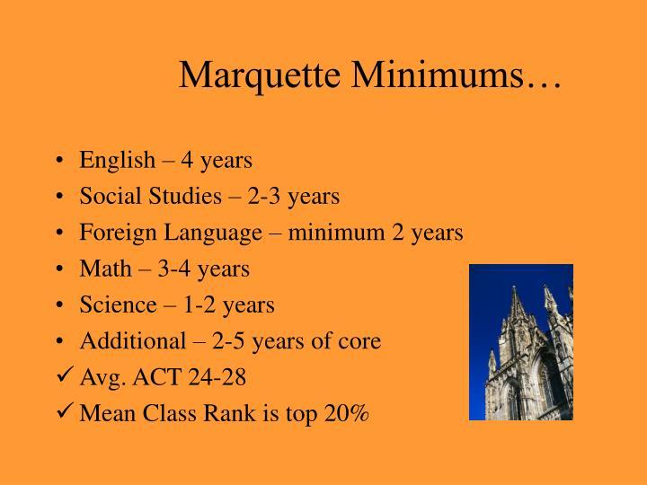 Marquette Minimums…
