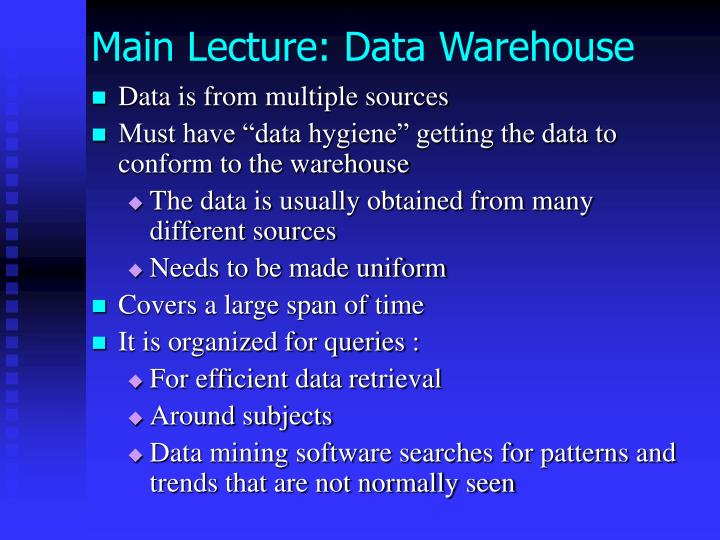 Main Lecture: Data Warehouse