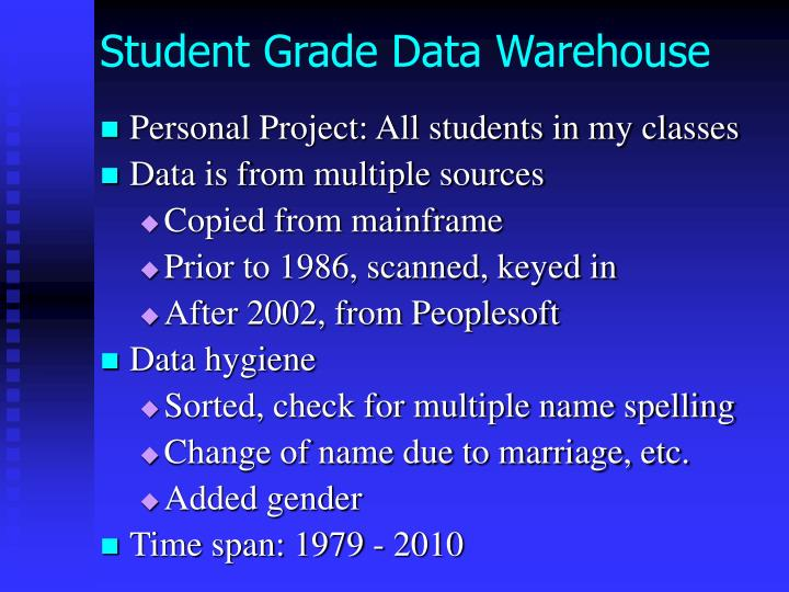 Student Grade Data Warehouse
