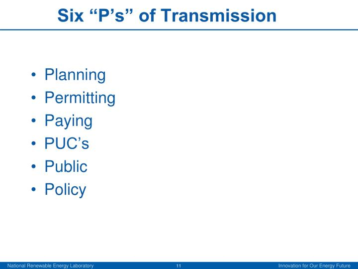 "Six ""P's"" of Transmission"