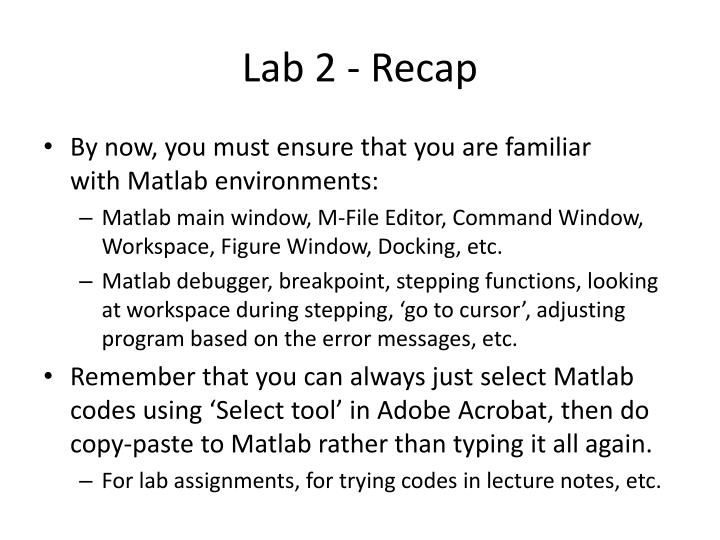 Lab 2 - Recap