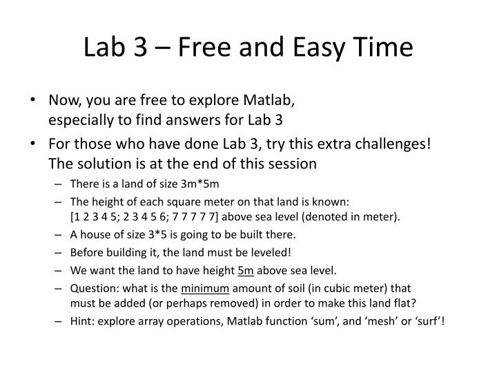 Lab 3 – Free and Easy Time