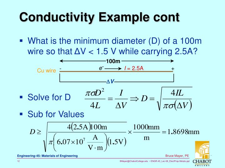 Conductivity Example cont