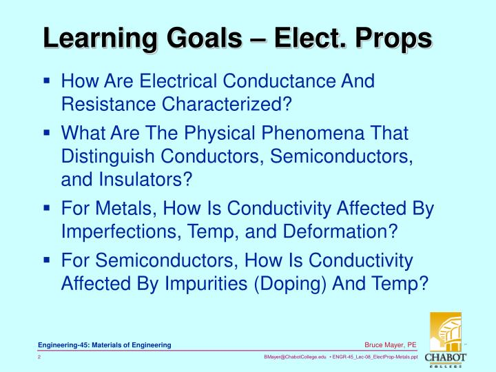 Learning Goals – Elect. Props