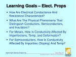 learning goals elect props