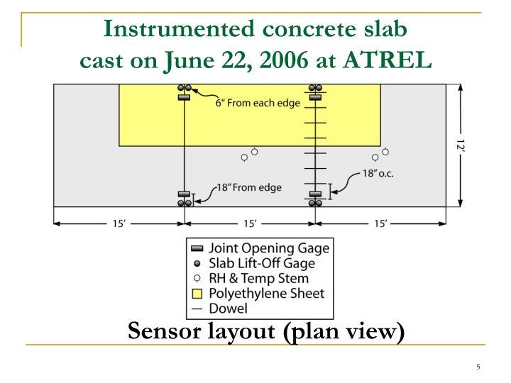 Instrumented concrete slab