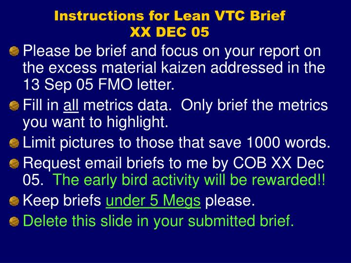 Instructions for Lean VTC Brief