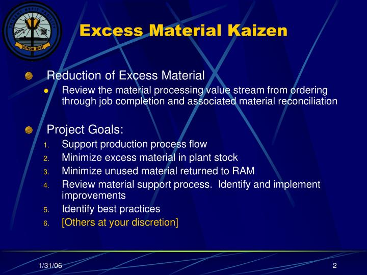 Reduction of Excess Material