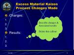 excess material kaizen process changes made