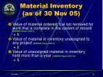 material inventory as of 30 nov 05