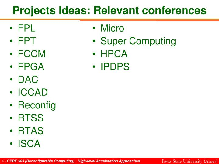 Projects Ideas: Relevant conferences