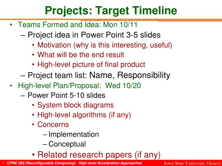 Projects: Target Timeline