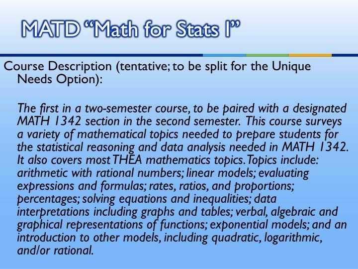"MATD ""Math for Stats I"""