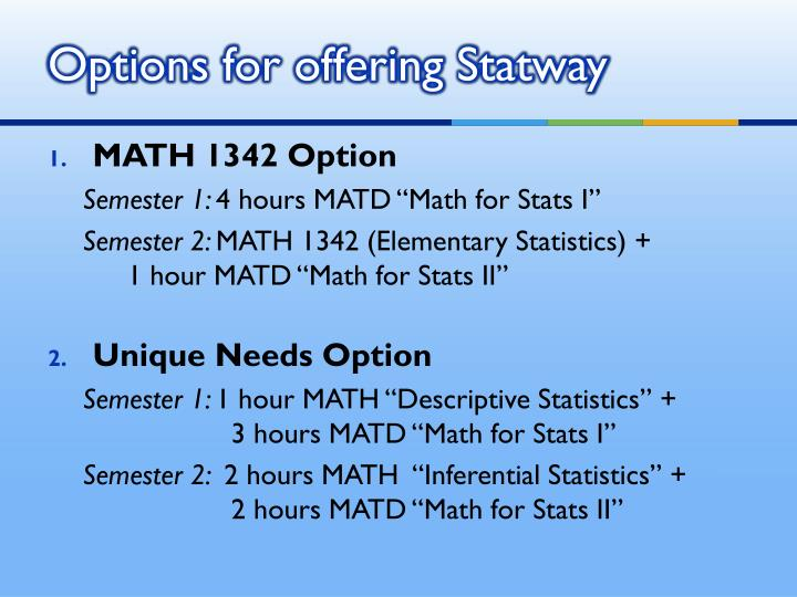 Options for offering Statway