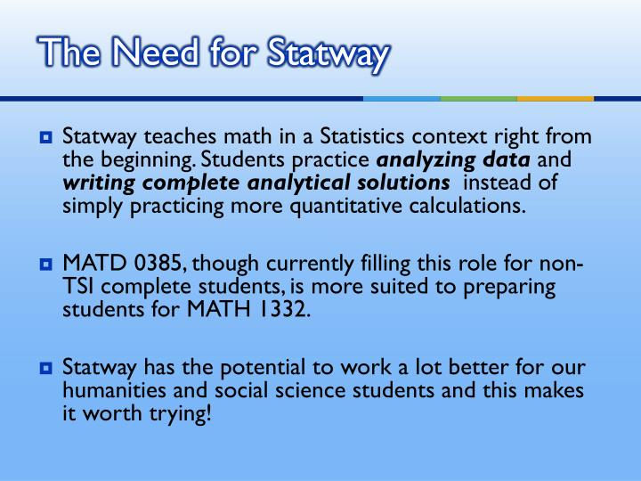 The Need for Statway