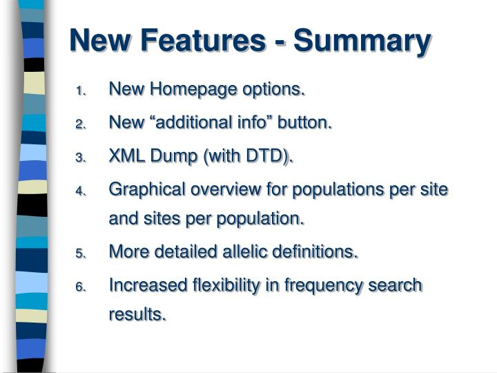 New Features - Summary