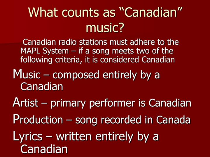 """What counts as """"Canadian"""" music?"""