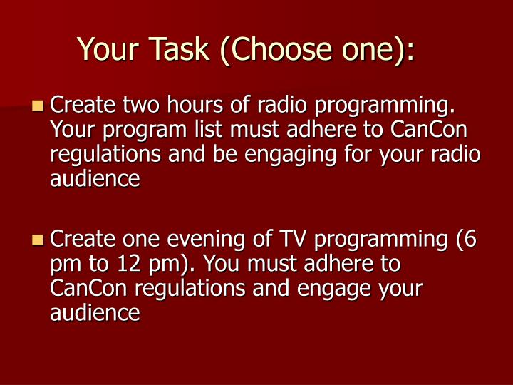 Your Task (Choose one):