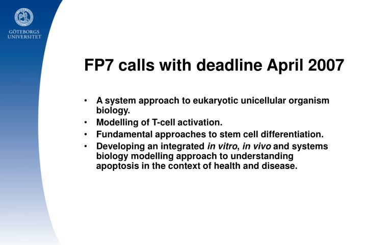 FP7 calls with deadline April 2007
