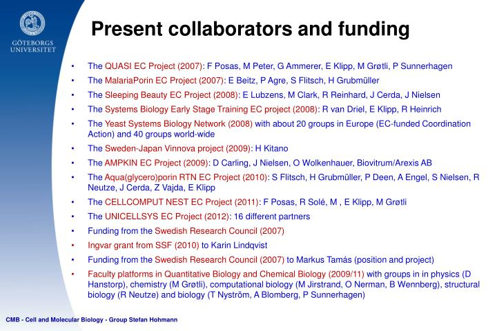 Present collaborators and funding