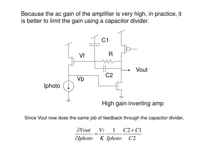Because the ac gain of the amplifier is very high, in practice, it