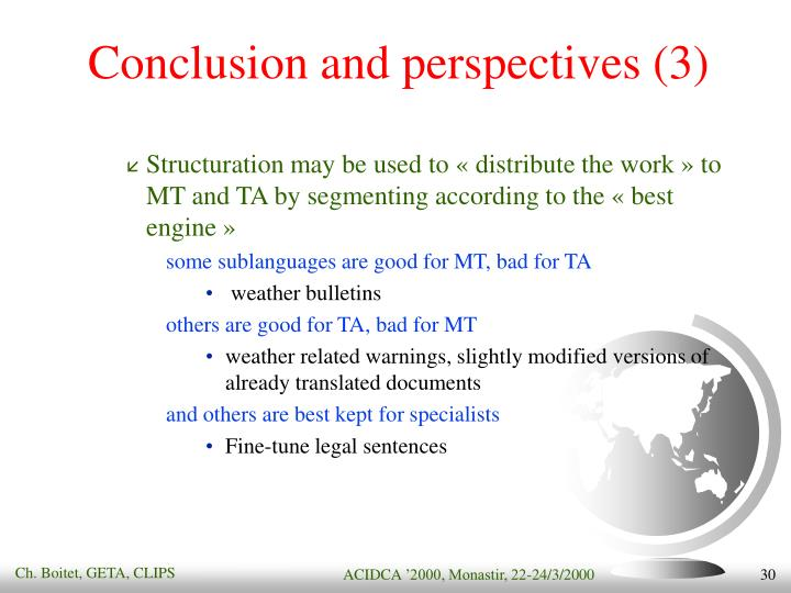 Conclusion and perspectives (3)
