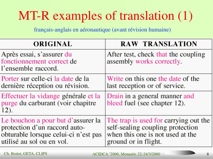 MT-R examples of translation (1)