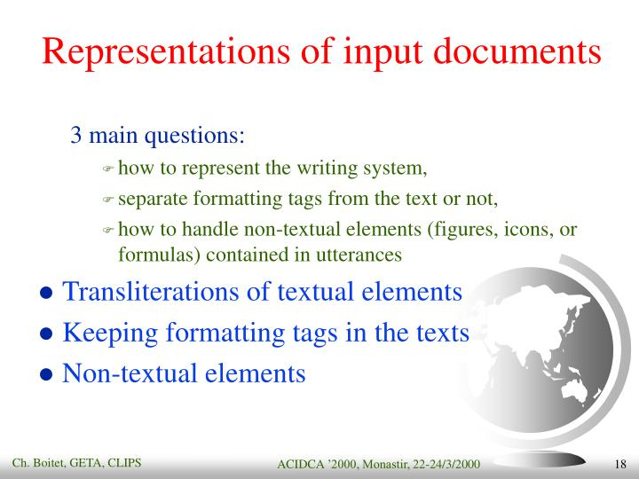 Representations of input documents