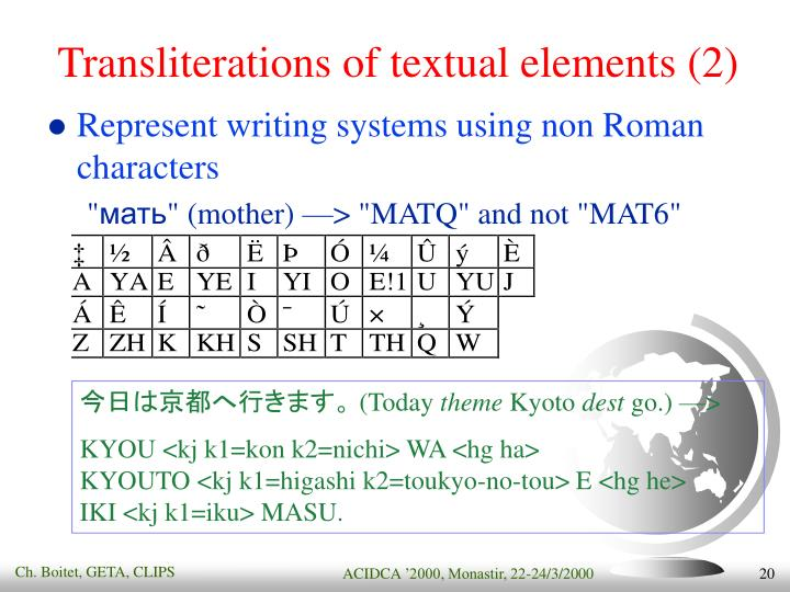 Transliterations of textual elements (2)