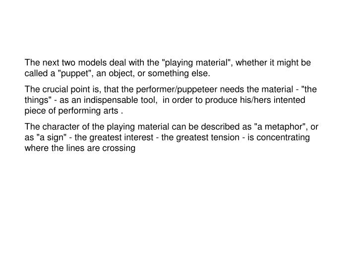 """The next two models deal with the """"playing material"""", whether it might be called a """"puppet"""", an object, or something else."""