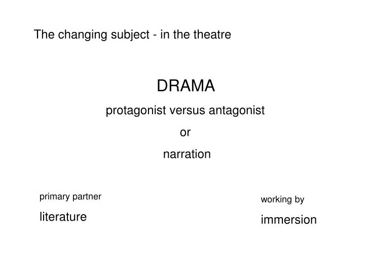 The changing subject - in the theatre