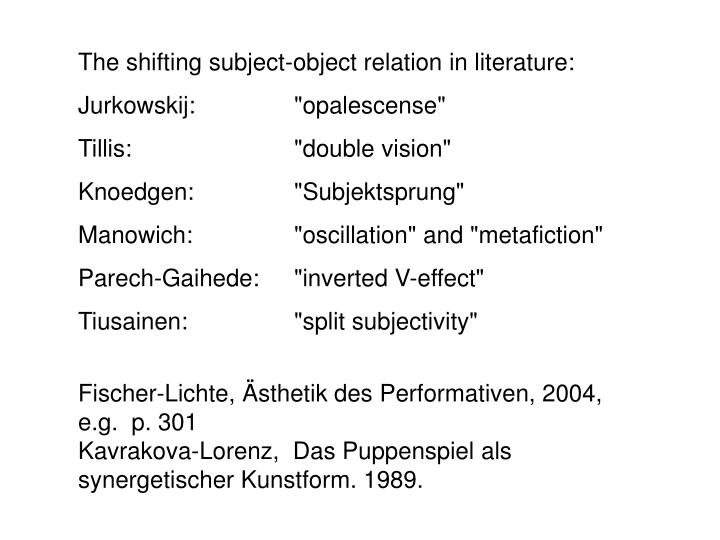 The shifting subject-object relation in literature:
