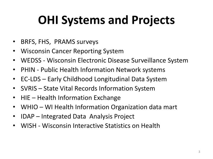 OHI Systems and Projects