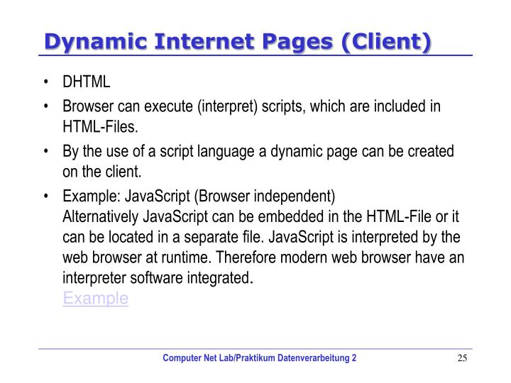 Dynamic Internet Pages (Client)