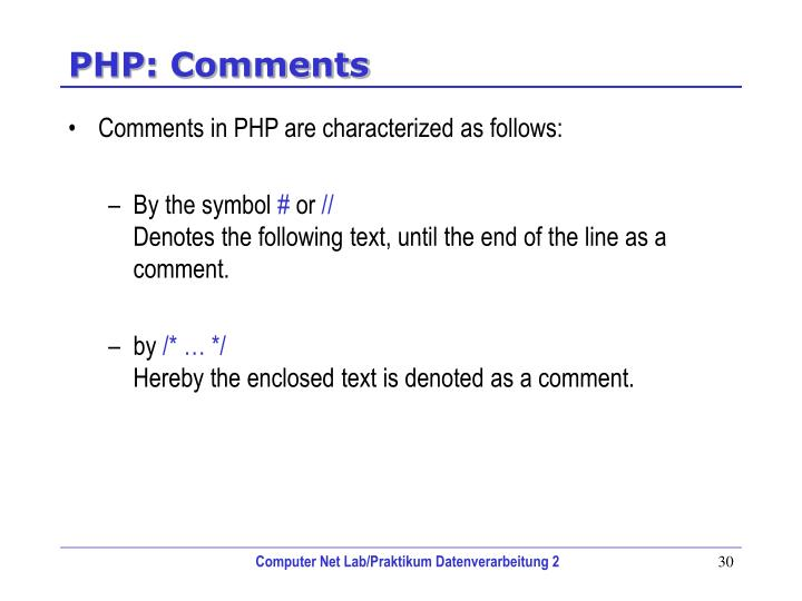 PHP: Comments