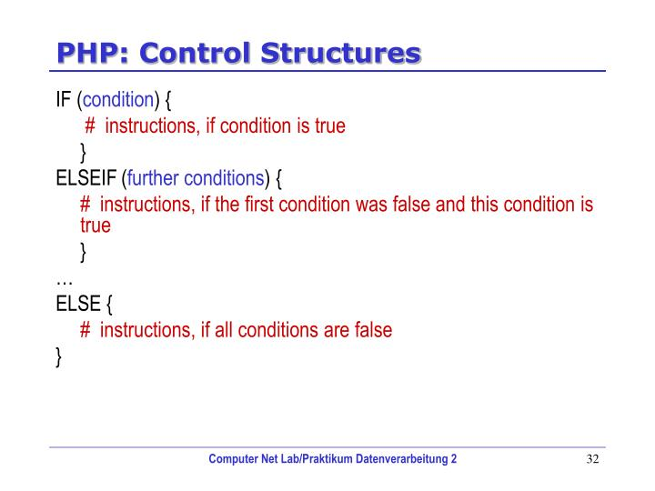 PHP: Control Structures